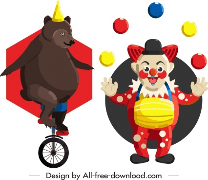 circus design elements performing bear clown icons