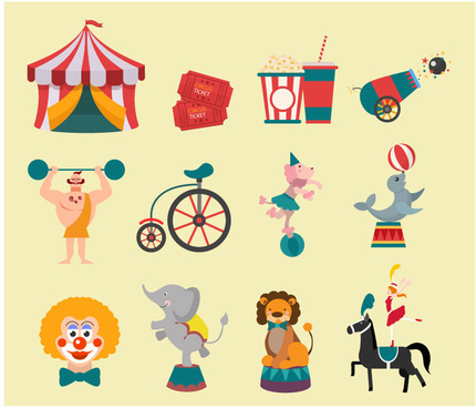 circus design elements with flat colored style illustration
