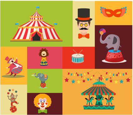 circus design elements with various styles illustration