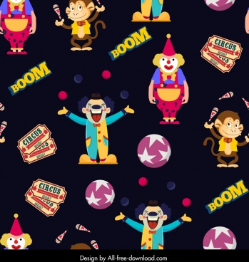 circus elements pattern clown monkey ticket icons decor