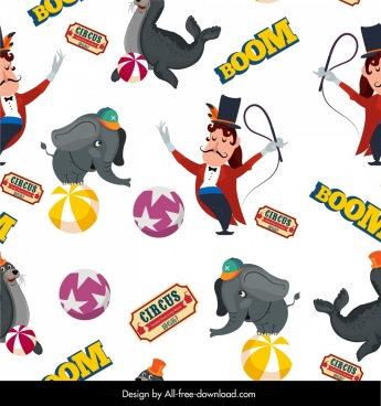 circus elements pattern elephant seal man icons decor