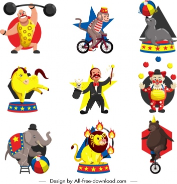 circus icons collection colored cartoon characters design
