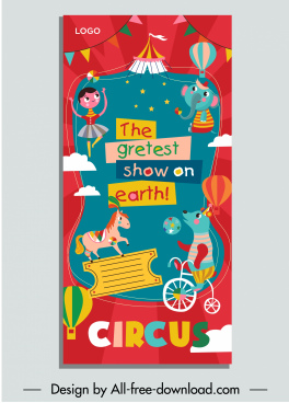 circus leaflet template colorful eventful decor performers sketch
