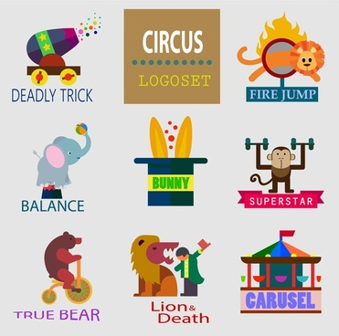 circus logo sets with flat colored emblems design