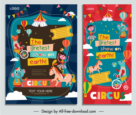 circus posters templates colorful eventful decor cartoon design