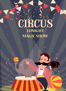 circus show advertisement eventful design colored cartoon