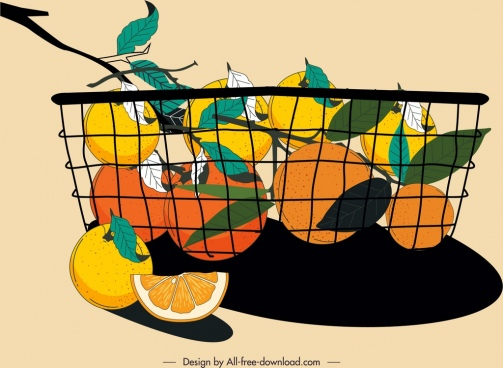 citrus fruits basket painting colorful classical handdrawn sketch
