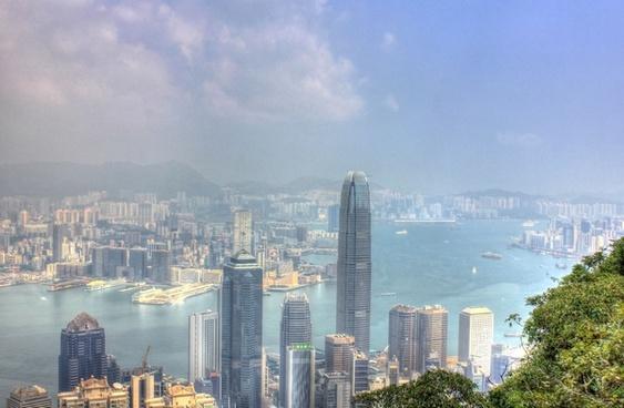 city and bay in hong kong china