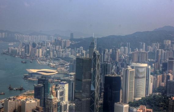 city and hills in hong kong china