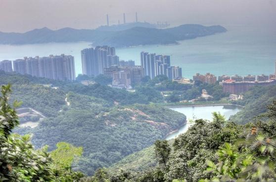 city and landscape in hong kong china