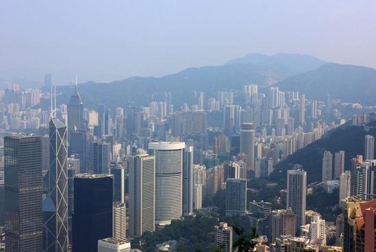 city and more hills in hong kong china