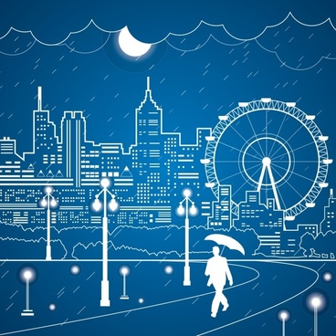city and playgrounds outline vector