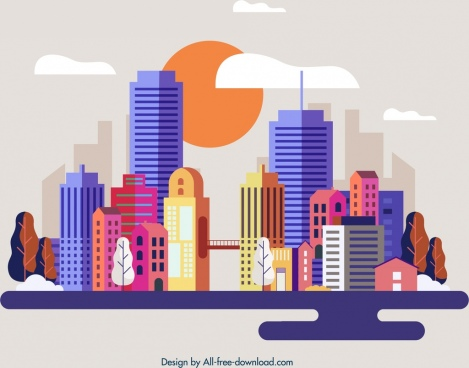 city background modern architectures icon multicolored design