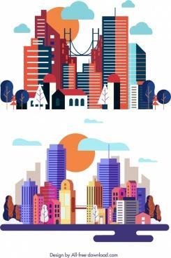 city background templates modern skyscrapers icon multicolored decor