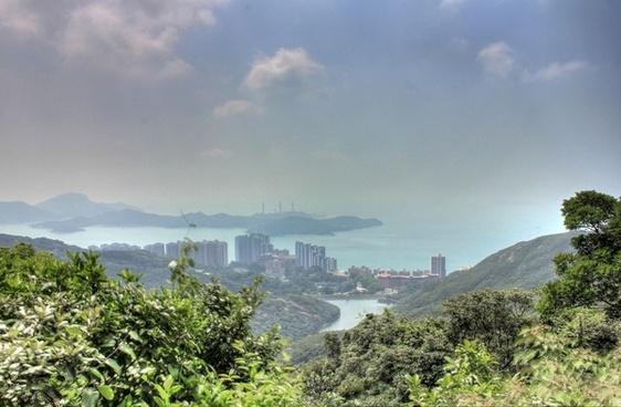 city bay and hills in hong kong china