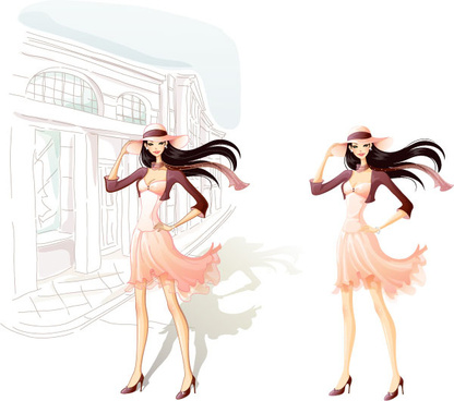 city beauty fashion girl vector