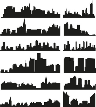 city building creative silhouettes design vector