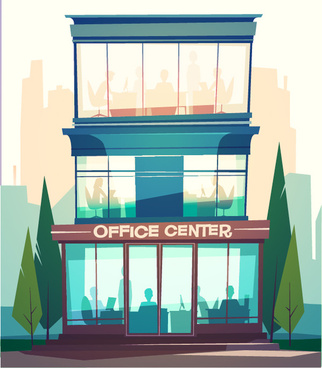 city building facades vector graphics