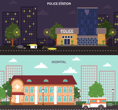 city buildings banners vector graphics