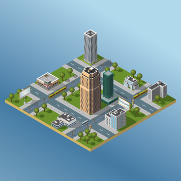 city buildings flat template vector