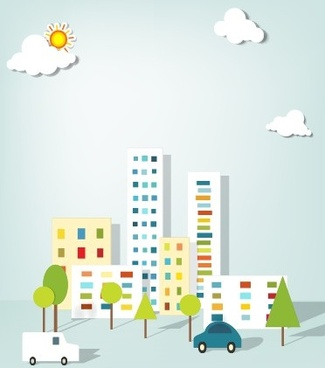 city buildings paper cut creative vector