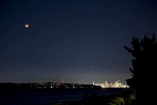 city cityscape dusk evening landscape light moon