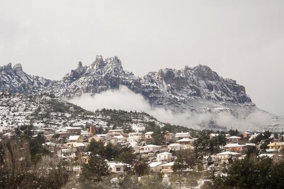 city cold fog hill horizontal house landscape