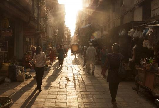 city dusk sun