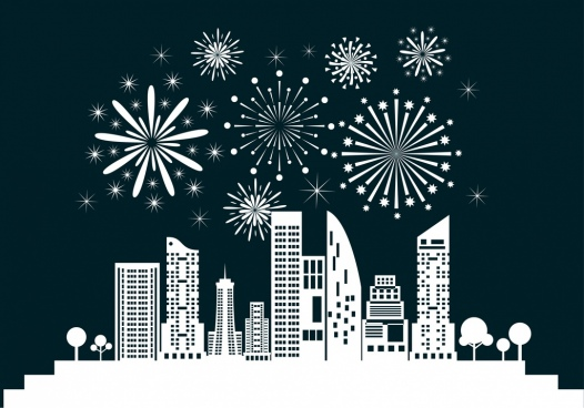 city fireworks background white silhouette design style