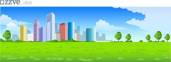 urban city painting skyscrapers icons colored cartoon design