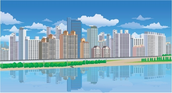 highrise buildings painting colorful reflection design