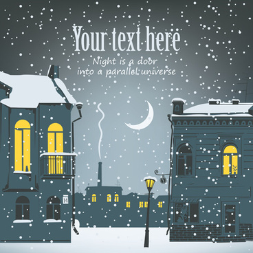 city in the snow vector background