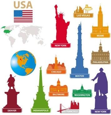 city landmark statue of liberty in new york vector silhouette