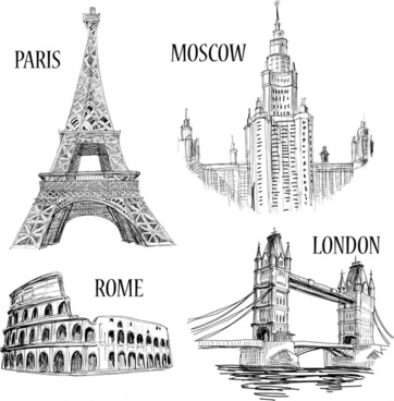 european capital landmark icons black white handdrawn outline