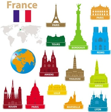 city landmarks silhouette vector eiffel tower in france notre dame