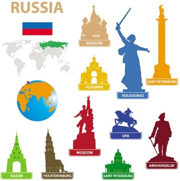 city landmarks silhouette vector russia red square