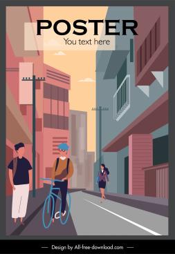 city life poster colored contemporary sketch cartoon design