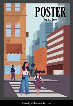 city life poster street pedestrian sketch cartoon design