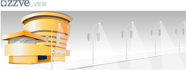 infrastructure background building street lights icons decor