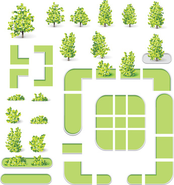 city map and green tree vector