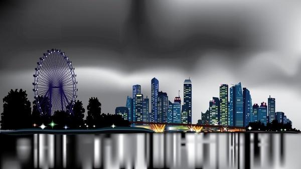 city background dark bokeh decor realistic modern design