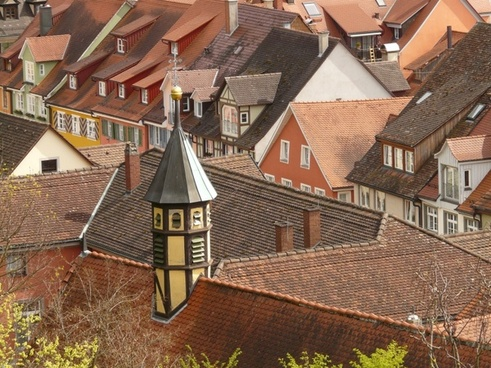 city old town roofs