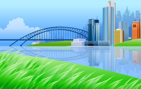 City on river side with a bridge