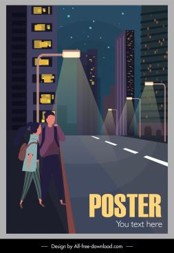 city scene poster night street sketch cartoon design