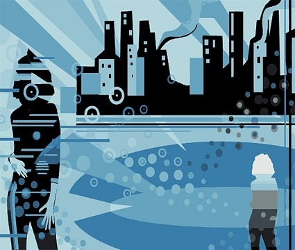 city silhouette and character vector