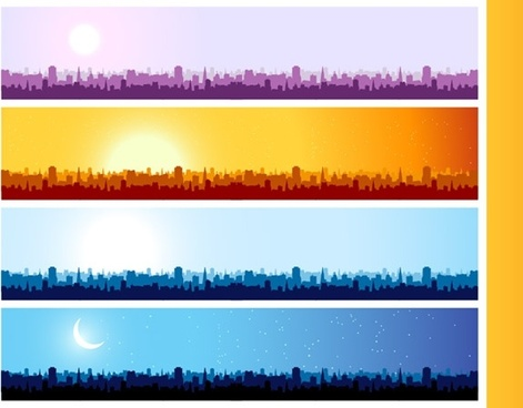 city silhouette banner vector background