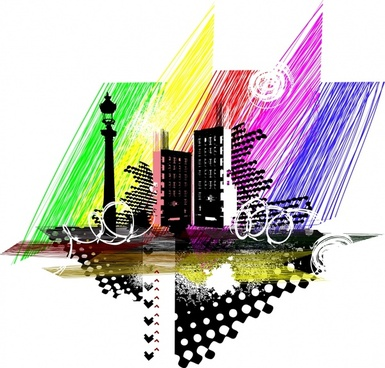 city background colorful modern messy handdrawn sketch
