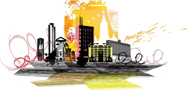 city scene background dark colorful dynamic grunge sketch