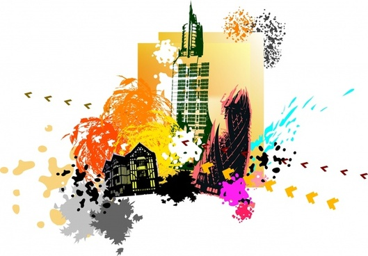city background colorful grunge dynamic decor