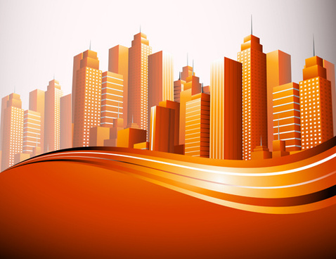 city skyscrapers design vector background set